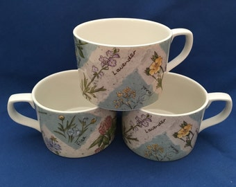 Royal Doulton, Doulton Everyday, Wildflowers, 1996, Flat Cup, Floral Porcelain Mugs, Floral Cups, Wildflower Mugs, Wildflower Cups
