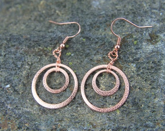 Copper Circle Earrings with Textured Pattern, Double Circles Make a Modern but Classic Design for any BoHo Jewelry Lover, Gift for Her
