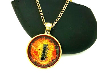 Red Dragon Eye Pendant/ Glow in the Dark/ Eye Necklace/ Gift Idea/ Gifts For Women/ Fantasy Jewelry/ Hand Painted Jewelry/  Eye of Sauron