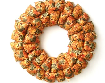 Fabric wreath / centerpiece, fall / autumn home decoration, Thanksgiving decor, candle wreath, table centerpiece