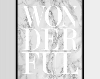 Wonderful print, Fashion, Modern print, Fashion art, White, Marble print, Digital art, Printable art, Digital Instant Download 11x14, 8x10