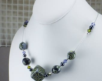 Handcrafted Illusion Choker Bead Necklace - Olive Black and Purple Geometric No. 127