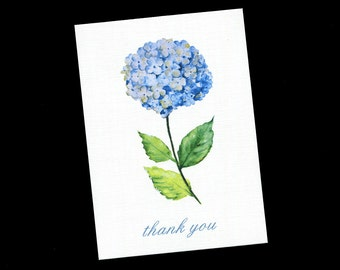 Thank You Cards - Bridal Shower - Wedding - Blank Thank You Cards - Blue - Hyacinth - Note Cards - Floral