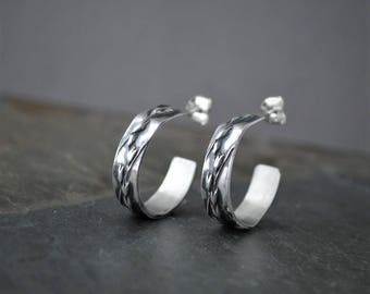 Sterling Hoop Earrings, Silver Hoop Studs, Switchgrass Earrings, Prairie Grass Earrings, Kansas Earrings, Botanical Earrings, Open Hoop Stud