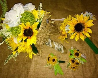 20 Piece Wedding  Sunflower Bouquet Set