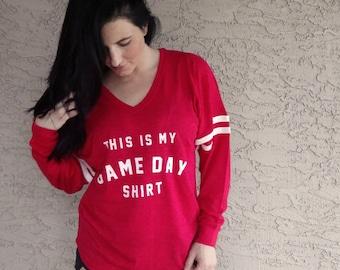 Pom Pom Jersey, Game day shirt, football jersey, pom pom boxercraft, Slub VarsiTee V-Neck Jersey, long sleeve shirt by shark's bites of life