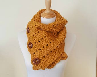 Winter Neck Warmer, Scarf, Crochet Thick Scarf - Mustard color