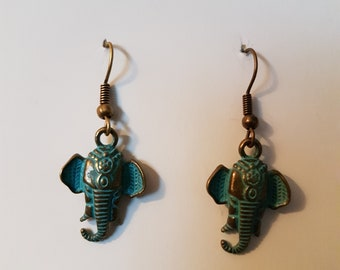 Beautiful patina brass elephant earrings