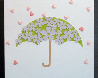 Personalized Bridal Shower Card with umbrella embellishment