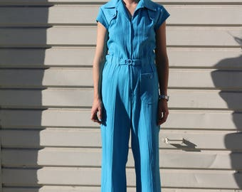 Vintage 1970s Blue Jumpsuit Feat. 1 Pocket