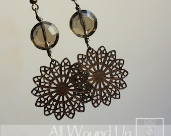 Antiqued Brass Wire Wrapped Filigree Medallion Earrings