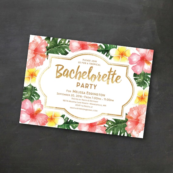 Tropical Printable Bachelorette Invitation Template, Luau Party,  Bachelorette, Wedding Party, Tropical, Hibiscus, Palm Leaves