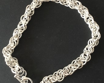 Silver Bracelet, Chainmaille Bracelet, Spiral Weave, Toggle Clasp