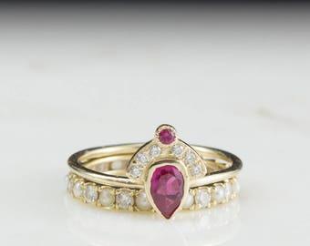 Ruby and diamonds Wedding Set, Diamond Set, Diamond and Ruby Ring Set, Wedding Ring Set, Ruby Engagement Ring with Diamond Crown Ring