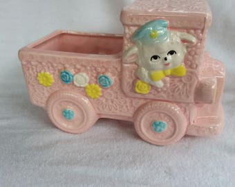 Vintage Ceramic Giftware, Nancy Pew Lamb Driving Truck Planter, Gift Box, Easter, Nursey, Baby Shower