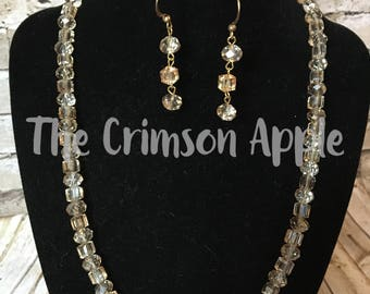 Brown Crystal necklace and earring set