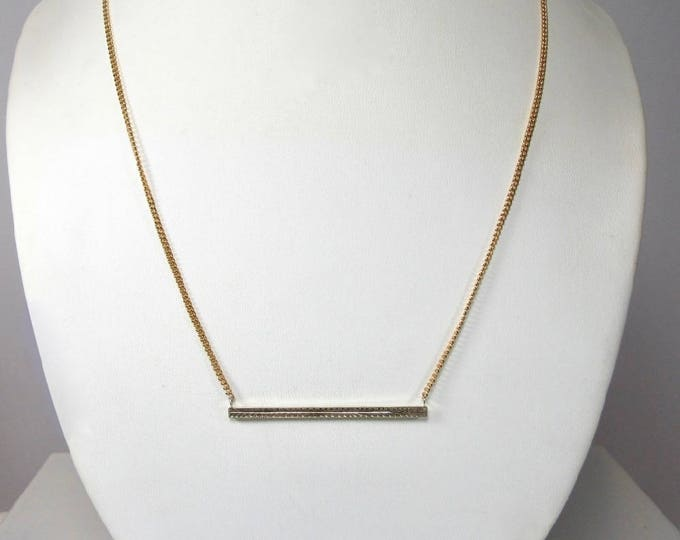 Wheat Pattern Bar Pin Necklace, Bar Necklace, Antique Bar Necklace, Yellow Gold Antique Bar Necklace, Necklace with Wheat Pattern