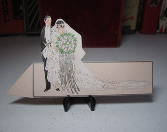 1920's unused silver gilded die cut hand colored bride and groom wedding themed place card 1920's fashions