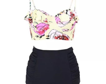 Floral black bottom high waist