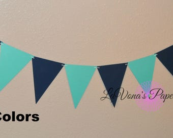Banner, Bunting, Flags, Party Decor,Navy and Turquoise