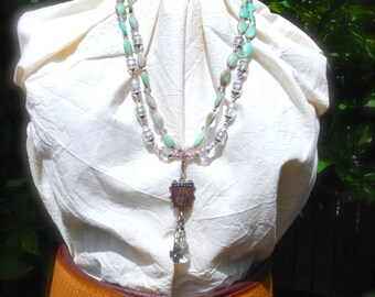 SALE*Western Jewelry, Cowgirl Bling, Christian Jewerly, Turquoise and Crystals, Double Strand Necklace *LETITBE*