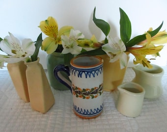 Vintage Mini Vases Mini Pottery Small Vases Bud Vases Yellow Green Blue Cream Vases Tiny Vases