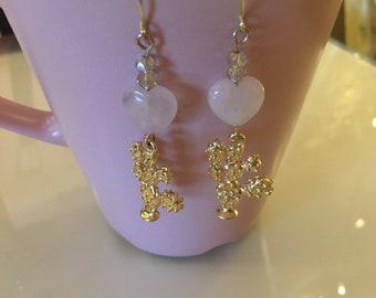 Rose Quartz  cactus love earrings