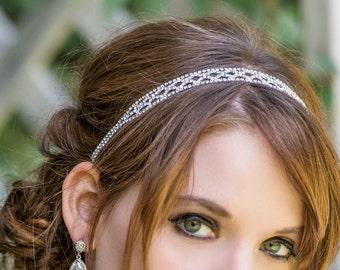 Silver Bridal Headband, Bridal Hair Accessories, Rhinestone Headband, Wedding Hair Accessories, Hair Jewelry, Prom Headpiece, H188-S