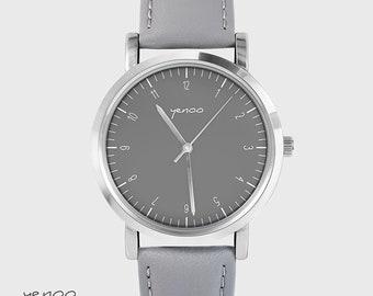 Bracelet Watch - Simple elegance - gray, leather