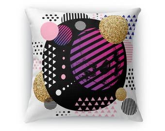 Memento Mori Neon Throw Pillow
