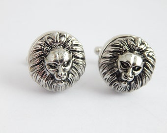 Lion Cufflink Animal African Lion Cuff Links Men Suit Accessories Gift Ideas for Him Under 20 Snap Interchangeable Removable