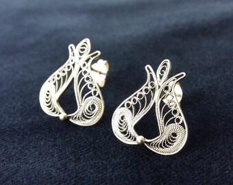 Pomegranate Earrings, Filigree Earrings, Sterling Silver Earrings, Stud Earrings, Silver Studs, Handmade Earrings, Gift Idea, Women Earrings