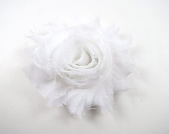 White Flower Hair Bow - Shabby Flower Hair Bow - Shabby Chiffon Hair Clip - Infant Toddler Child Teenager Hair Clip