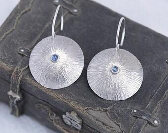 Blue Topaz Earrings, Topaz Jewellery, Round Silver Earrings with Blue Topaz, December Birthstone Earrings, Topaz Jewellery Gift for Her