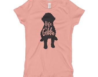 """Kids Goldendoodle Shirt """"Life is Golden"""" Goldendoodle dog shirt Girl's T-Shirt"""