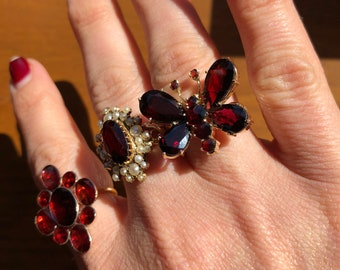 Victorian Garnet Butterfly 14k Gold Conversion Ring