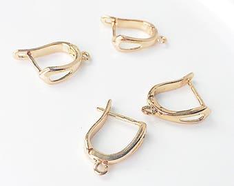 10 Brass Ear Hooks, Gold Earwires, Earring Findings, 17mm x 13mm,  EWRS025