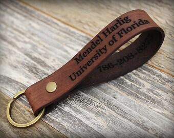 Custom Leather Keychain - Personalized Key fob - Monogrammed Leather Key Chain - Custom Text - Keyfob -Personalized Keyring -Handmade in USA