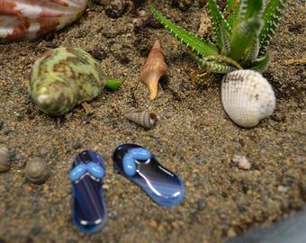 Miniature Fused Glass Flip Flops, Dish Garden Decor, Fairy Garden, Fairy Accessories, Beach Decor, Garden Miniatures, Party Favor, Blue
