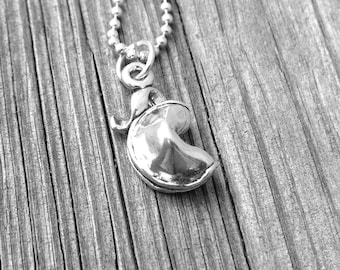 Fortune Cookie Necklace,  Fortune Cookie Pendant,  Fortune Cookie Jewelry, Fortune Cookie Charm, Charm Necklace,Sterling Silver Jewelry