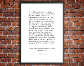 John F. Kennedy Printable Quote 'From Whence We Came' Instant Download American History Quote JFK Poster Sailing Print Kennedy Ocean Speech