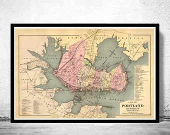 Old Map of Portland Maine 1885