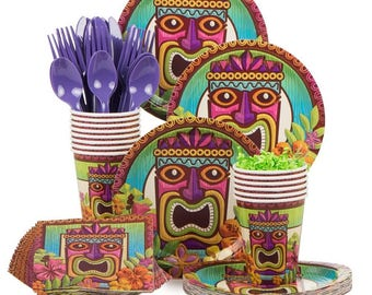Tropical Tiki Party Celebration Pack Service For 8! Luau - Hawaiian - Polynesian Party Supplies - Summertime - Fun In The Sun Tableware  sc 1 st  Etsy & Luau plates   Etsy