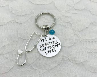 Grey's Anatomy key chain, Stethoscope key chain, Doctor key chain, Hand-stamped gift, It's a beautiful day to save lives