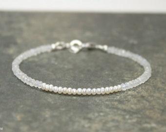 Freshwater Pearl and Moonstone Bracelet, June Birthstone, Moonstone Jewelry, Gemstone Jewelry