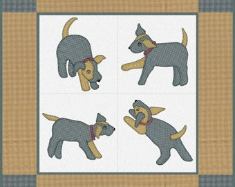 Large Format Pattern -- Gingham Dog and Calico Cat -- Traditional Baby Quilt -- Hand or Fusible Applique Pattern -- Dog and Cat Baby Quilts
