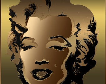 Tribute to Andy Warhol Pop Art 16x16 Bronze Marilyn Monroe Metallic Limited Edition Print Signed by Auric Visual Artist
