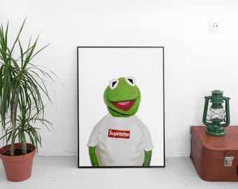 "Supreme X Kermit Poster - Street Urban Artwork Print - Kermit The Frog Poster - Kermit Puppet Muppet - Size 13x20"" 24x36"" 32x48"" #1"
