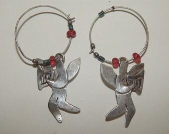 Sterling Silver Earrings, Far Fetched Angels w Harps, Hoop Dangle Pierced, Retired Design