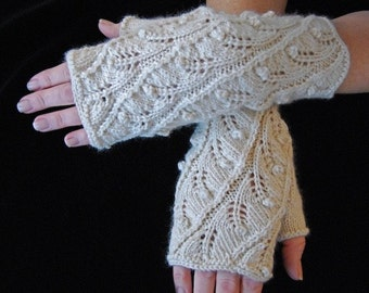 "Knitting Pattern PDF Fingerless Gloves ""Fern Spiral"""